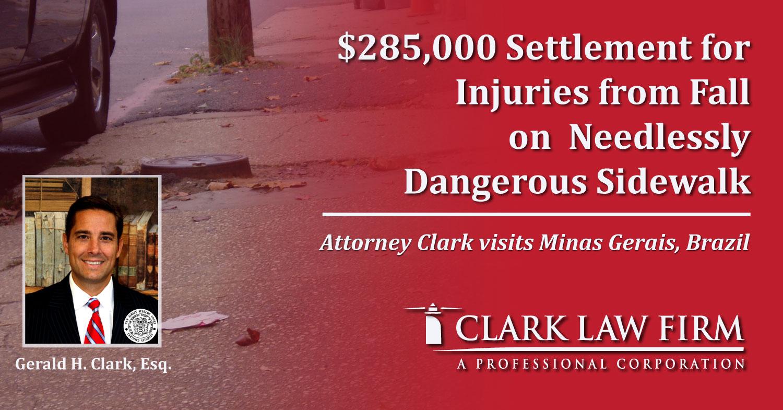 $285,000 Settlement for Injuries from Fall on Needlessly Dangerous Sidewalk